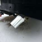 Close up of ghetto down-turn pipe for exhaust